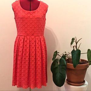 Coral eyelet sleeveless dress